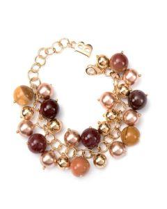 Bracelet with Swarovski beads bronze and hard stones jasper mokaite