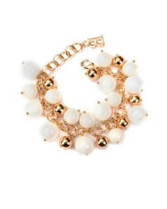 Bracelet with Swarovski pearls in ivory and hard stones of jade ivory