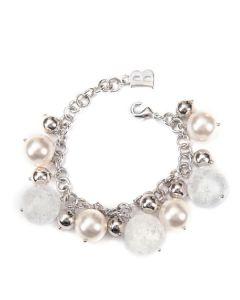 Bracciale con perle Swarovski bianche e cristallo di Rocca cracked
