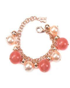Bracciale con perle Swarovski pesca e pietre dure di quarzo color fragola