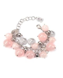 Bracelet with semiprecious stones pink quartz and lucky coins