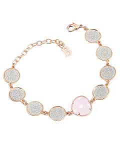 Bracciale con moduli glitterati e cristallo rosa