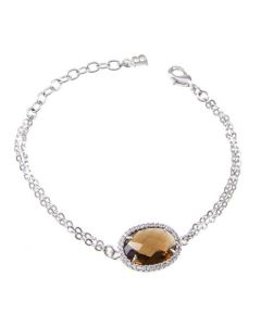 Bracelet with central briolette crystal fumè and zircons