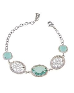 Bracelet with decorations arabesques, zircons and crystals colored briolette