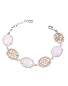 The semirigid Bracelet with crystals briolette pink and zircons