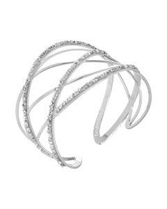 Rigid bracelet with decorations in Swarovski crystal Rock crystal
