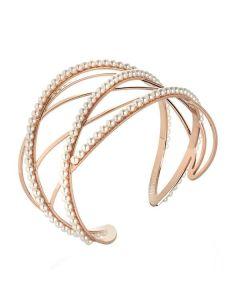 Bracciale rigido rosato con decori di perle Swarovski