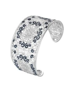 Rigid bracelet with decoration in glitter bicolor