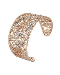 Rigid bracelet with decoration in glitter