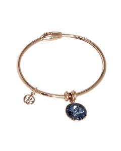 Bracelet with charm in Swarovski Crystal blue denim