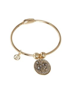 Plated Bracelet yellow gold with charm in galuchat