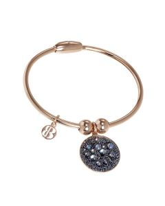 Plated Bracelet pink gold with charm in galuchat paradise shine