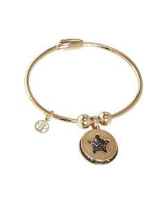 Golden Bracelet with charms and Swarovski Cristal rock metallic silver transparent