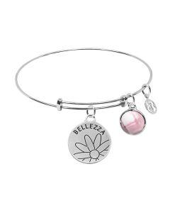 "Bracelet with medaglietta ""Bellezza"" and briolette Crystal Pink"