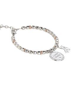 """Bracciale beads con medaglietta """"I love travel"""""""
