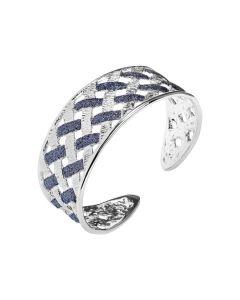 Rigid bracelet with decoration in Glitter black