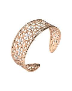 Rigid bracelet with interior decoration in glitter silver