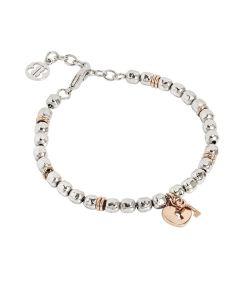 Bracciale beads con lucchetto rosato