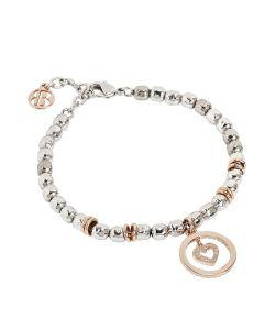 Bracelet beads with heart rosato and zircons