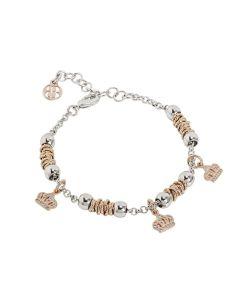 Bracciale beads con corone rosate di zirconi