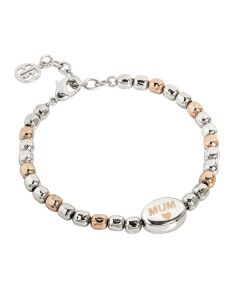 "Bracelet beads bicolor written with ""Mum"" laserata"