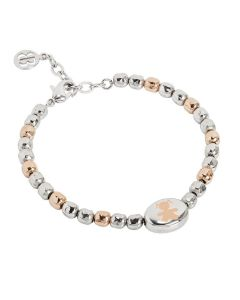 Bracciale beads bicolor con bimba laserata