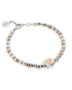 Bracciale beads bicolor con gatto laserato