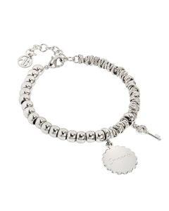 """Bracciale beads con medaglietta """"Coraggio"""" e chiave zirconata"""