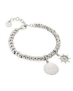"Bracelet beads with medaglietta ""Guide"" and rudder zirconate"