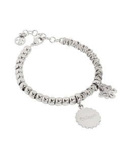 """Bracciale beads con medaglietta """"Bellezza"""" e fiocco zirconato"""
