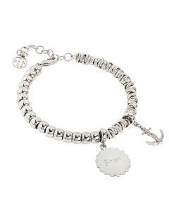 "Bracelet beads with medaglietta ""strength"" and still zirconata"