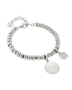 "Bracelet beads with medaglietta ""luck"" and quadrifoglio zirconate"