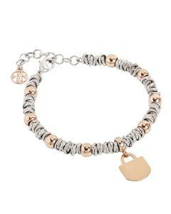 Bracelet bicolor with padlock rosato