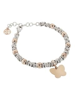 Bracelet bicolor with Pink Butterfly