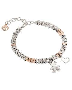 Bracelet bicolor with zirconata girl and the heart