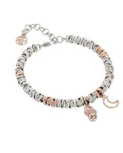 Bracelet bicolor with dummy zirconate and moon rosati