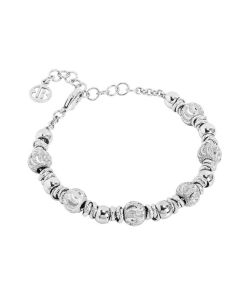 Bracelet with rhodium-plated balls and diamond wave effect