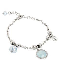 Bracciale con perle Swarovski light blu e cristallo verde acqua