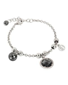 Bracelet with Swarovski beads black and crystal smoky quartz