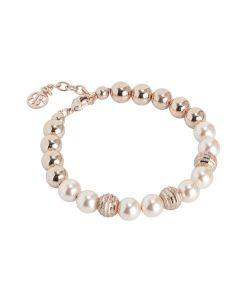 Bracelet with Swarovski beads peach and diamond