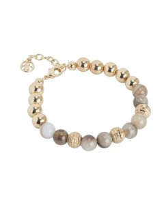 Golden Bracelet with agate mix brown