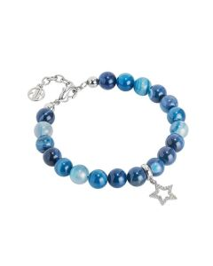 Bracelet with agate blue mix and star zirconata