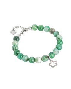 Bracelet with agate mix green and flower zirconate