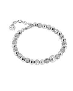 Bracelet with central pearl Swarovski light gray