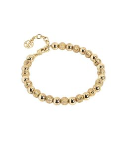 Golden Bracelet with smooth balls and diamond