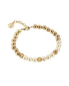 Golden Bracelet with Swarovski beads light gold