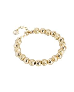 Golden Bracelet with shiny spheres and setate