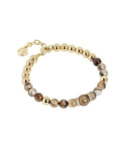 Bracelet with agate mix brown and passing zirconates