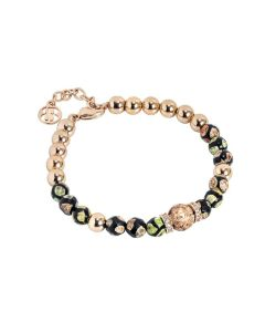 Bracelet with agate mix mat and passing zirconates