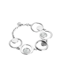 Modular Bracelet with orbits of zircons and mother-of-pearl